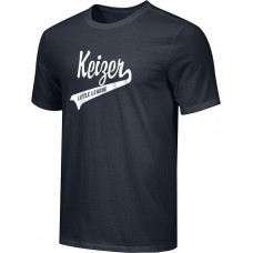 Keizer - Black 08: Adult-Size - Nike Combed Cotton Core Crew T-Shirt - Black with White Logo