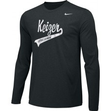 Keizer - Black 05: Adult-Size - Nike Team Legend Long-Sleeve Crew T-Shirt - Black with White Logo