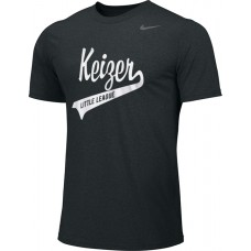 Keizer - Black 02: Adult-Size - Nike Team Legend Short-Sleeve Crew T-Shirt - Black with White Logo