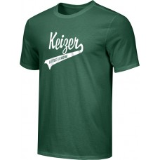 Keizer - Green 09: Youth-Size - Nike Combed Cotton Core Crew T-Shirt - Green with White Logo