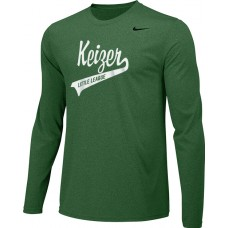 Keizer - Green 05: Adult-Size - Nike Team Legend Long-Sleeve Crew T-Shirt - Green with White Logo
