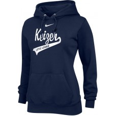 Keizer - Navy 12: Nike Team Club Women's Fleece Training Hoodie - Navy with White Logo
