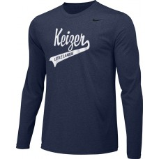 Keizer - Navy 05: Adult-Size - Nike Team Legend Long-Sleeve Crew T-Shirt - Navy with White Logo