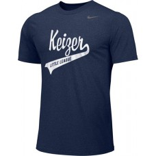 Keizer - Navy 02: Adult-Size - Nike Team Legend Short-Sleeve Crew T-Shirt - Navy with White Logo