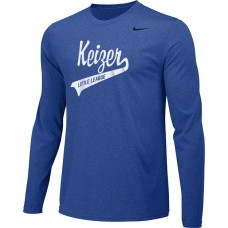 Keizer - Royal 05: Adult-Size - Nike Team Legend Long-Sleeve Crew T-Shirt - Royal with White Logo