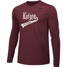 Keizer - Cardinal 05: Adult-Size - Nike Team Legend Long-Sleeve Crew T-Shirt - Cardinal with White Logo