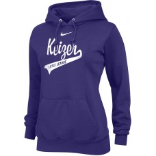 Keizer - Purple 12: Nike Team Club Women's Fleece Training Hoodie - Purple with White Logo