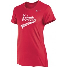 Keizer - Scarlet 04: Nike Women's Legend Short-Sleeve Training Top - Scarlet with White Logo