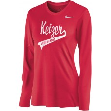 Keizer - Scarlet 07: Nike Women's Legend Long-Sleeve Training Top - Scarlet with White Logo