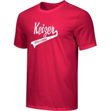 Keizer - Scarlet 09: Youth-Size - Nike Combed Cotton Core Crew T-Shirt - Scarlet with White Logo