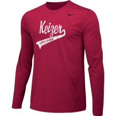Keizer - Scarlet 05: Adult-Size - Nike Team Legend Long-Sleeve Crew T-Shirt - Scarlet with White Logo