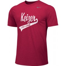 Keizer - Scarlet 02: Adult-Size - Nike Team Legend Short-Sleeve Crew T-Shirt - Scarlet with White Logo